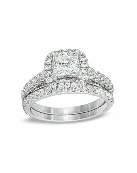 Zales 2 CT. T.W. Princess-Cut Diamond Frame Bridal Set in 14K White Gold  19453208 Engagement Ring photo