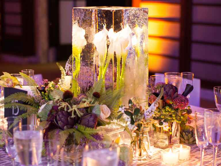 Modern wedding centerpiece with calla lilies in an ice sculpture