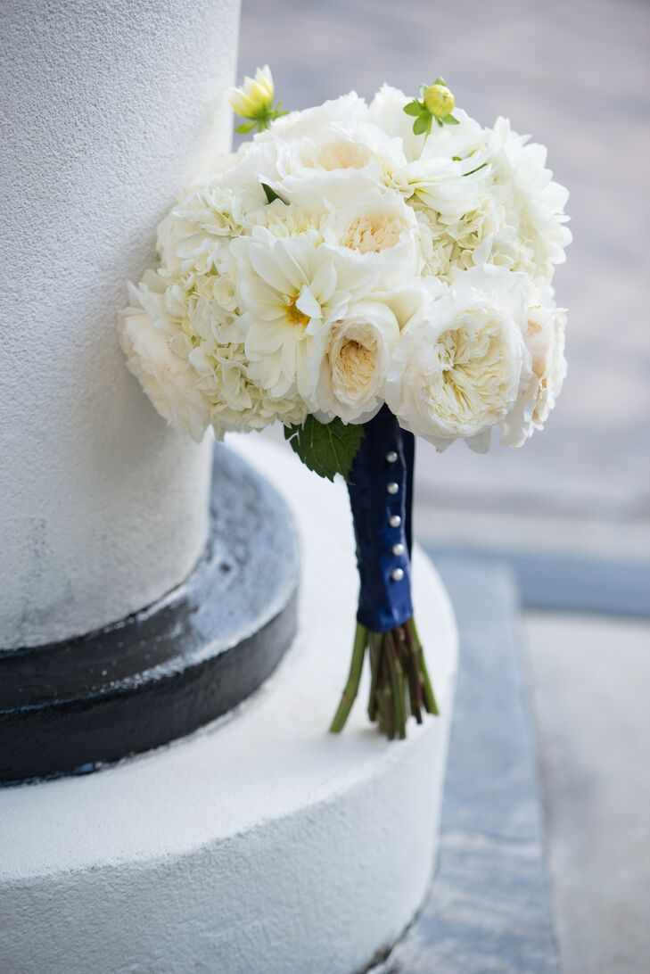 White Bridal Bouquet With Navy Wrap