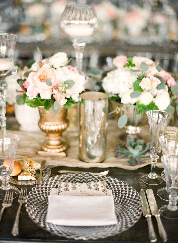 To achieve the vintage chic aesthetic they were after, Annie and Matt dressed their dinner tables with lace table runners, ornate crystal glassware and mismatched dishes and cutlery.