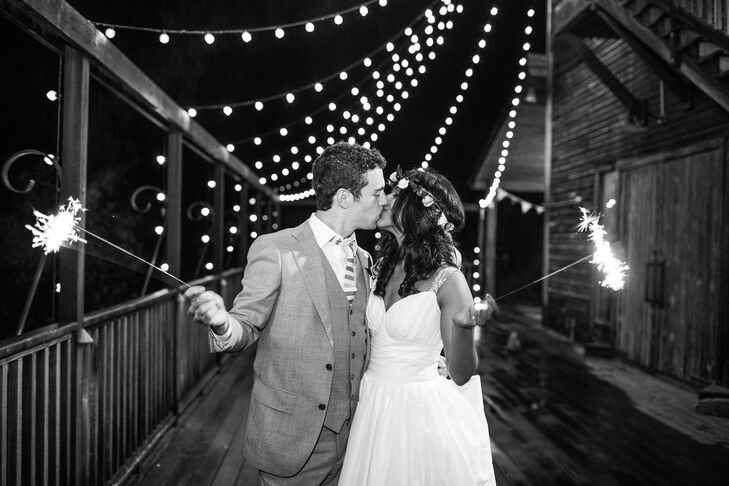 Sophia and Jake left their reception through a sparkler exit. Although they drove themselves to the venue, they left in a black Town Car. Their bridal party went out without them afterward.