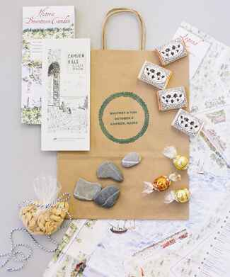 Maine wedding welcome bag with maps