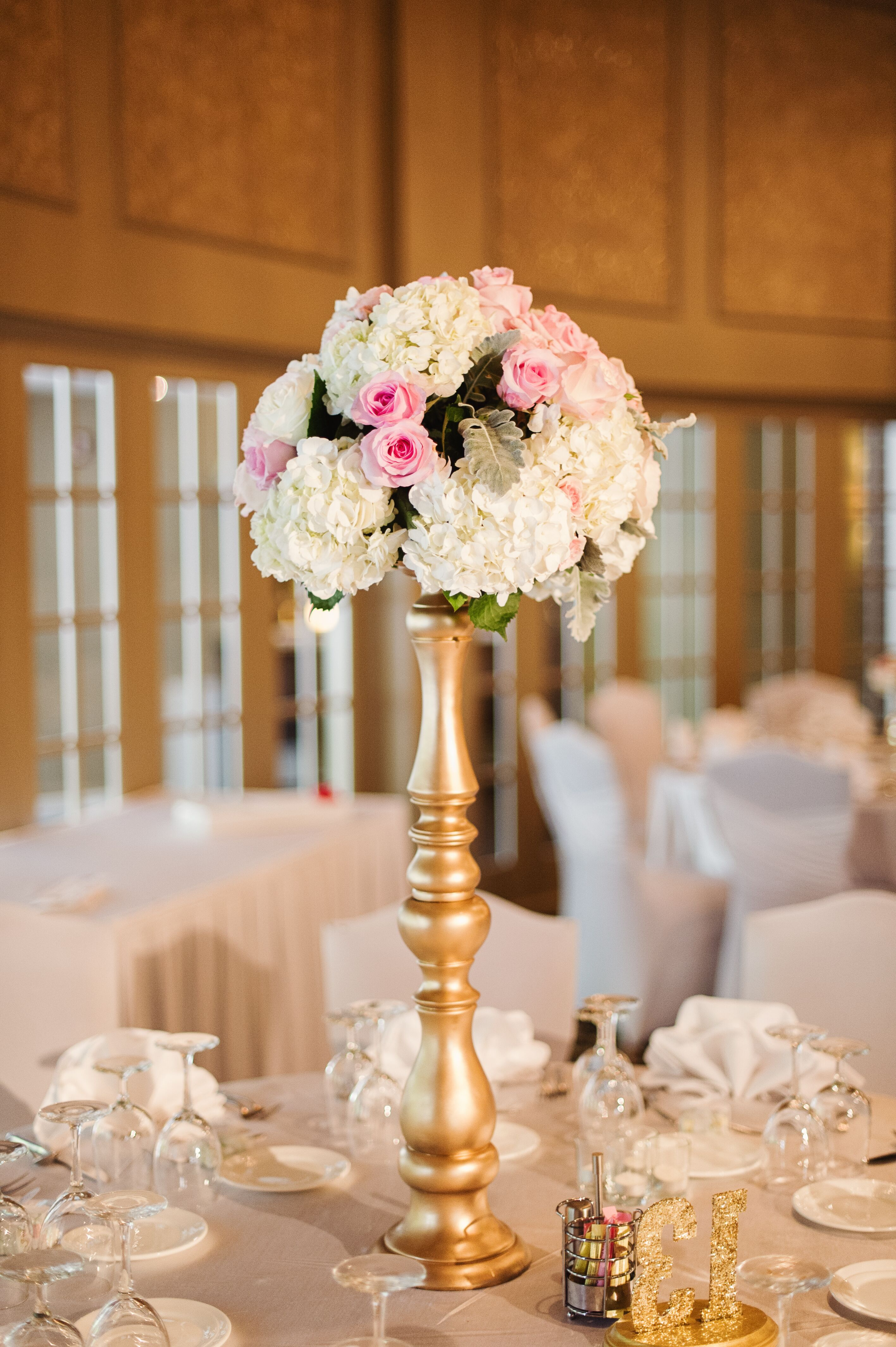 Tall White Hydrangea Blush Rose And Lamb S Ear Centerpieces