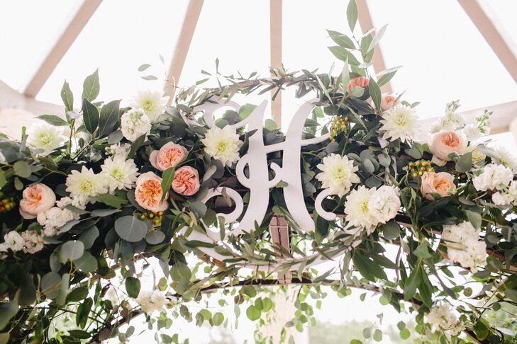 Eucalyptus Garland with Peach and White Flowers on Ceremony Arch