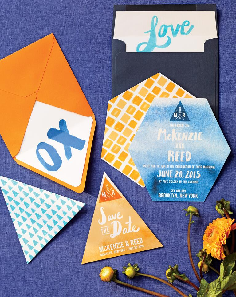 Orange Blue Watercolor Triangle Hexagon Stationery Suite