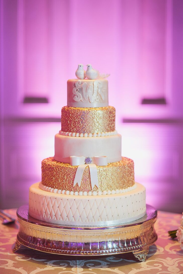 Ivory and Gold Fondant Wedding Cake