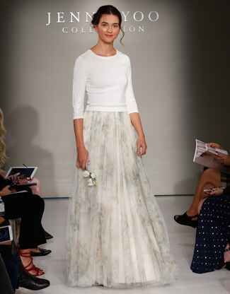 Jenny Yoo Fall 2016 wedding dress with white sweater and full blush and grey patterned skirt