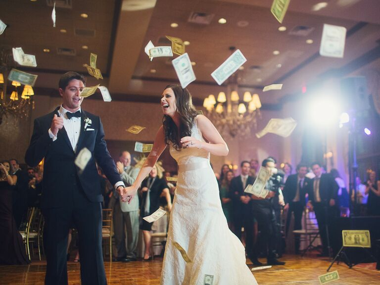 How to actually pay for a wedding bride and groom doing the money dance at their wedding junglespirit Image collections