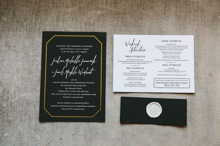 Chelsea Emery Design Boutiques created Jordan and Jacob's chic black and gold invitation suite.