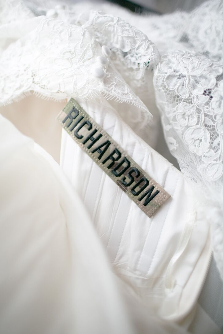 Wedding Dress With Military Name Tape