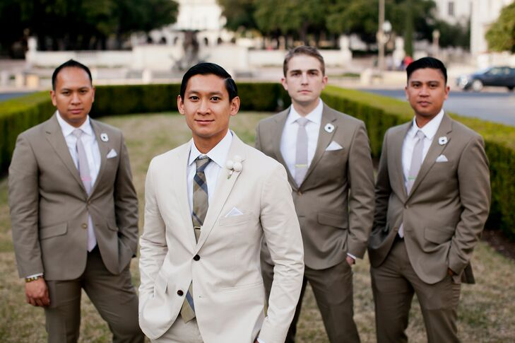 Beige and Taupe Groom and Groomsmen Suits
