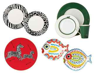 Animal motif dinner plates on wedding registry