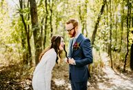 "Lindsay Fritts and Elliott Koskie combined modern and vintage details at their fall wedding. ""I have always been obsessed with all things vintage, so"