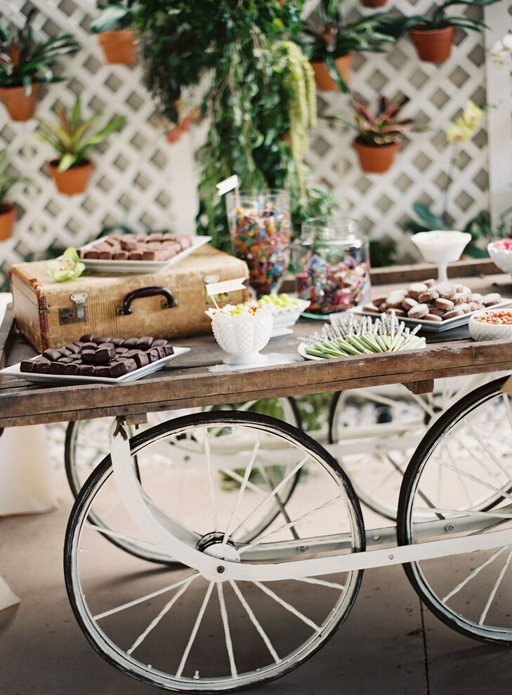 Exposed Wood Dessert Cart with White Wheels