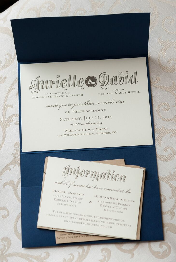DIY Rustic Navy and White Wedding Invitations