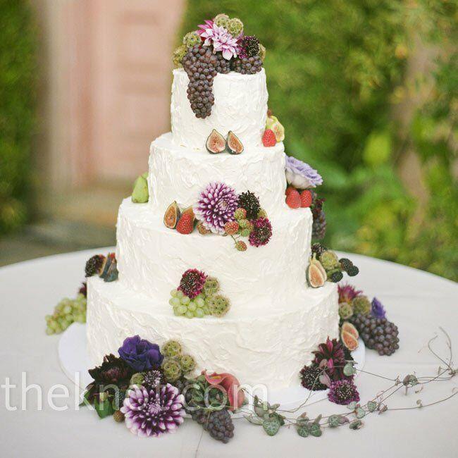 Wedding Cake Pink Little Flowers Up Side Garden
