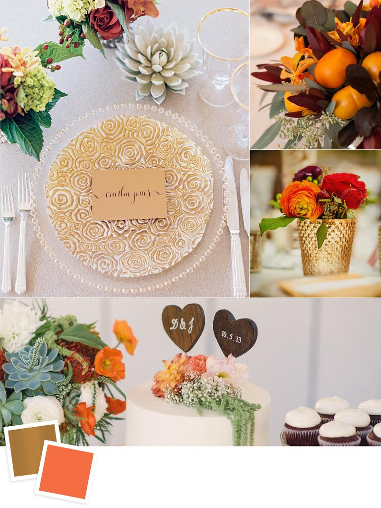 Copper and persimmon wedding colors