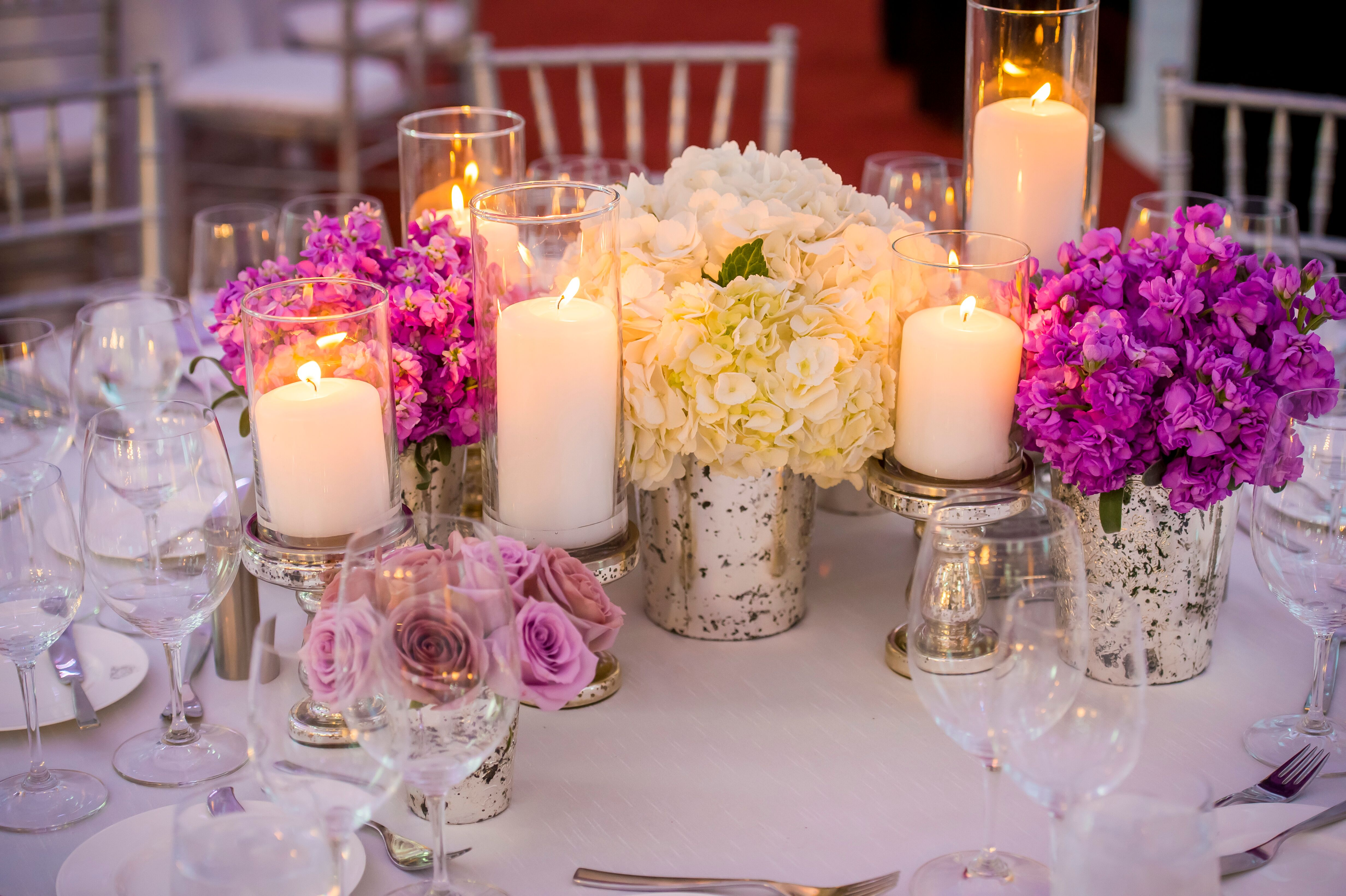 Low purple and white flower centerpieces