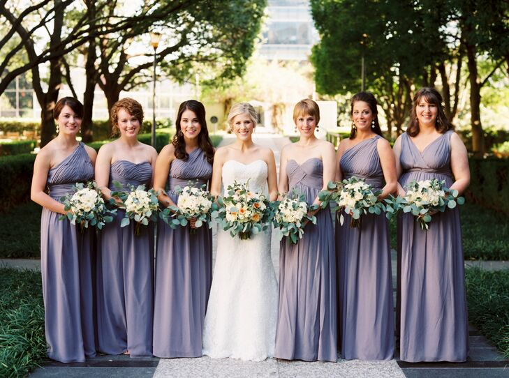 Long Lavender Donna Morgan Bridesmaid Dresses