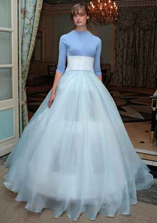 Delphine Manivet Spring 2017 baby blue ball gown wedding dress with sheer full skirt and crew neck sweater