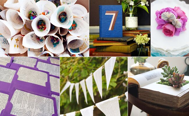 6 DIY Wedding Projects Made From Books // Featured: The Knot Blog