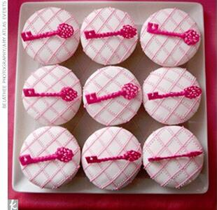 pink cupcakes with key decoration