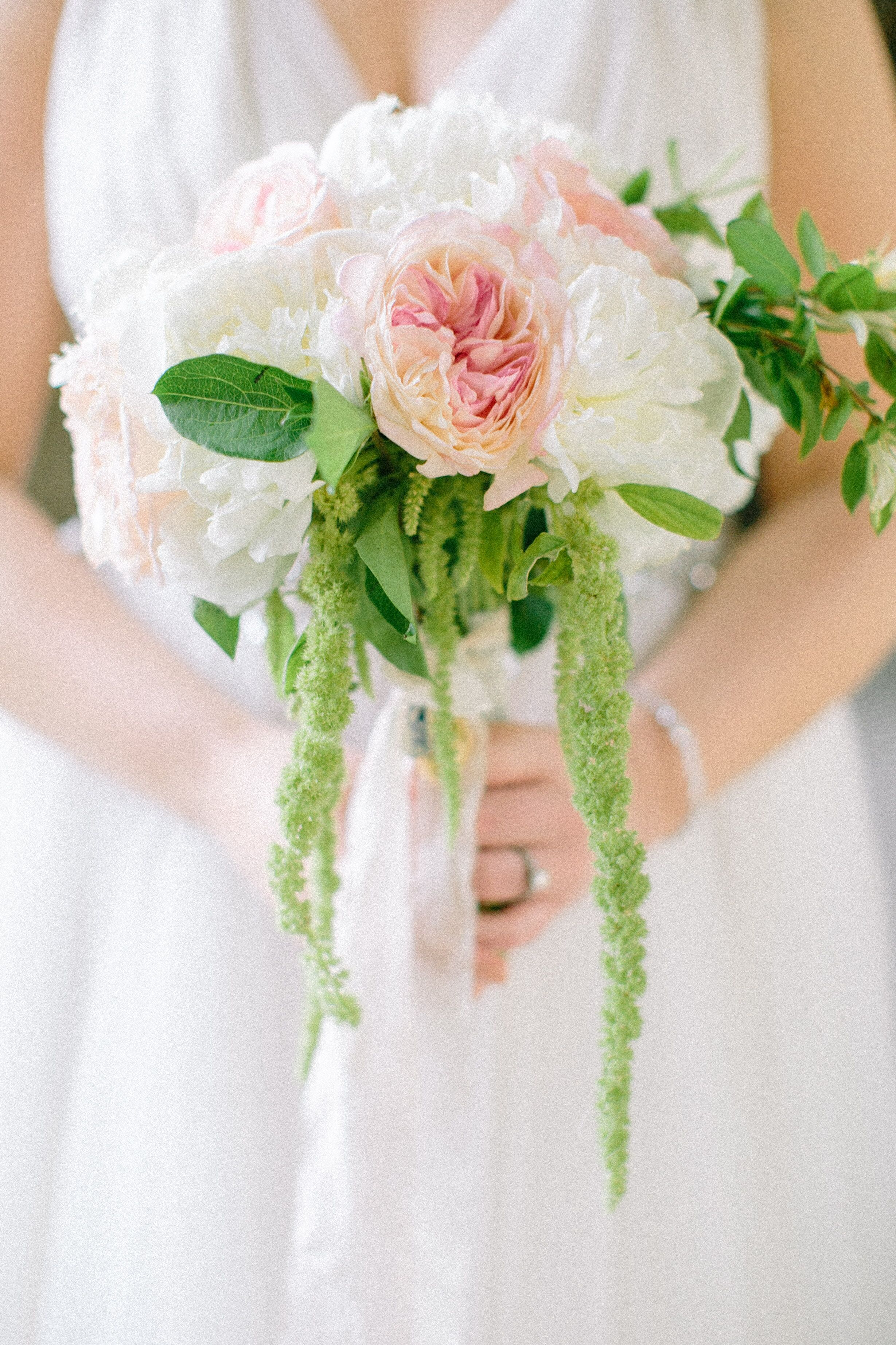 Peony And Hanging Green Amaranthus Bridal Bouquet