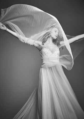 Pleated Carolina Herrera Veil and Dress