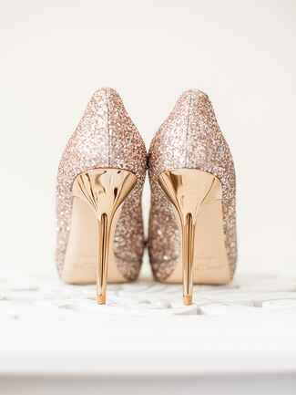 Gold glittery high heel wedding shoes