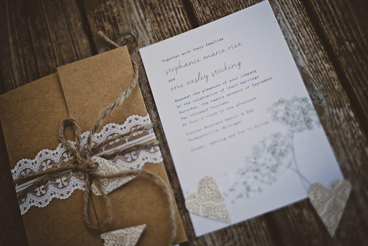 Diy Kraft Paper Wedding Invitations: Rustic Kraft Paper And Twine Wedding Invitations