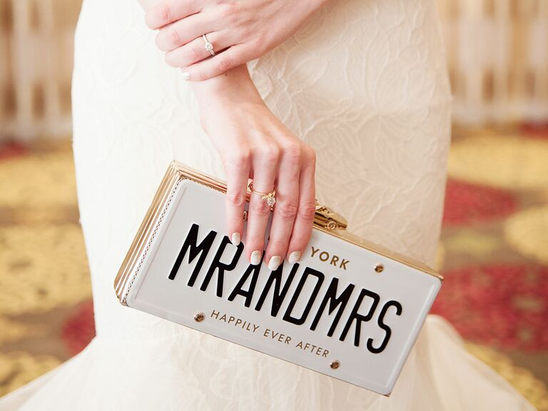 license plate bridal clutch