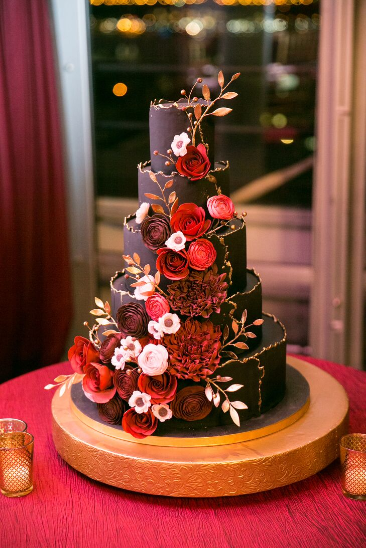 Burgundy And Gold Fondant Cake With Sugar Flowers