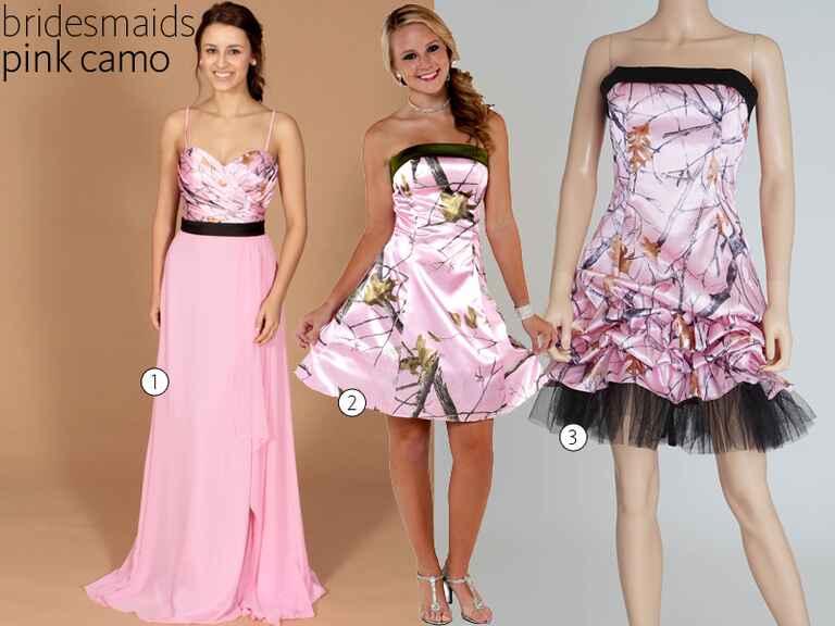 Camo wedding dresses camo bridesmaid dresses for Camo and pink wedding dresses