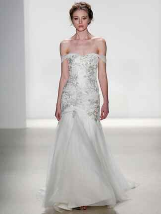 Kelly Faetanini Spring 2018 silver and ivory lace beaded fit to flare wedding dress with soft tulle skirt