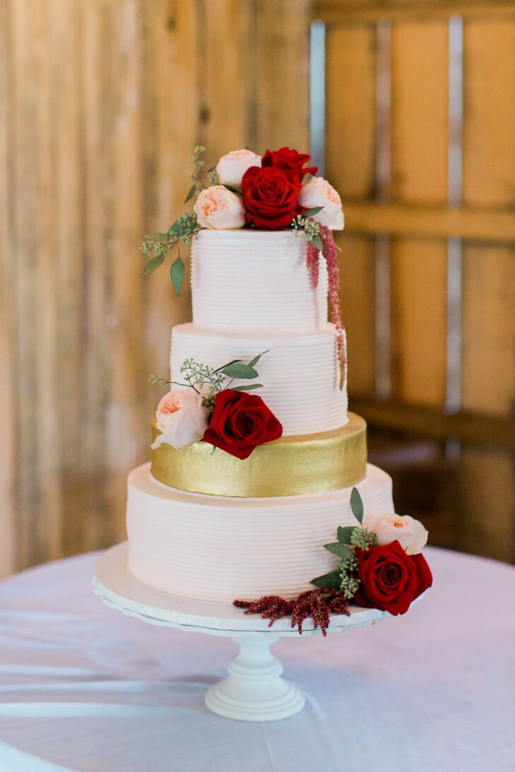 Romantic White Wedding Cake With Burgundy Flowers
