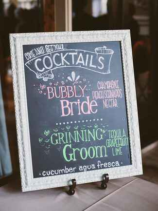 Chalkboard signature cocktail sign