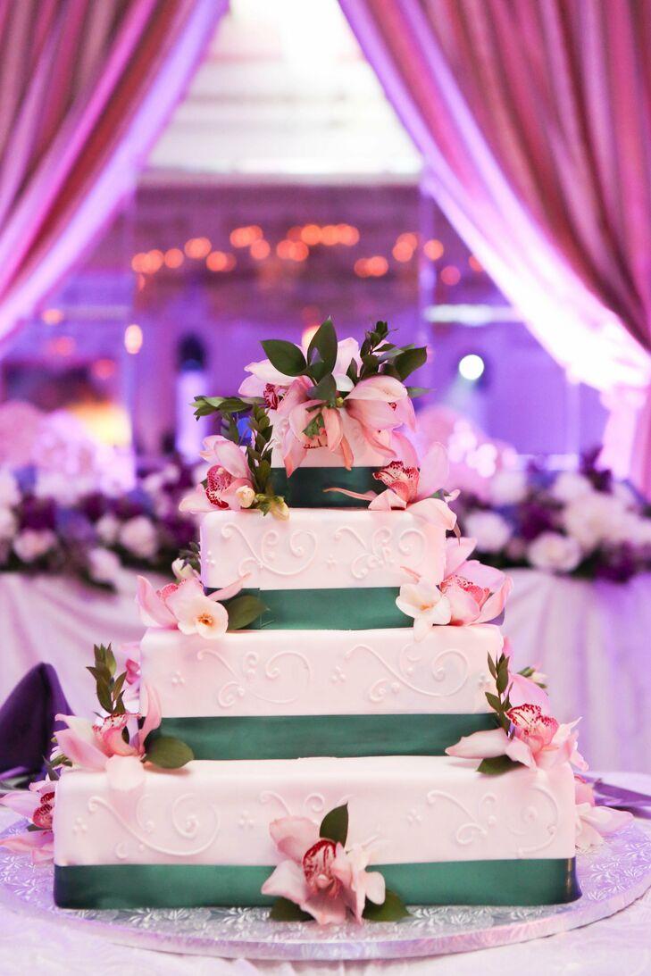 White Cake with Teal Ribbon Trim