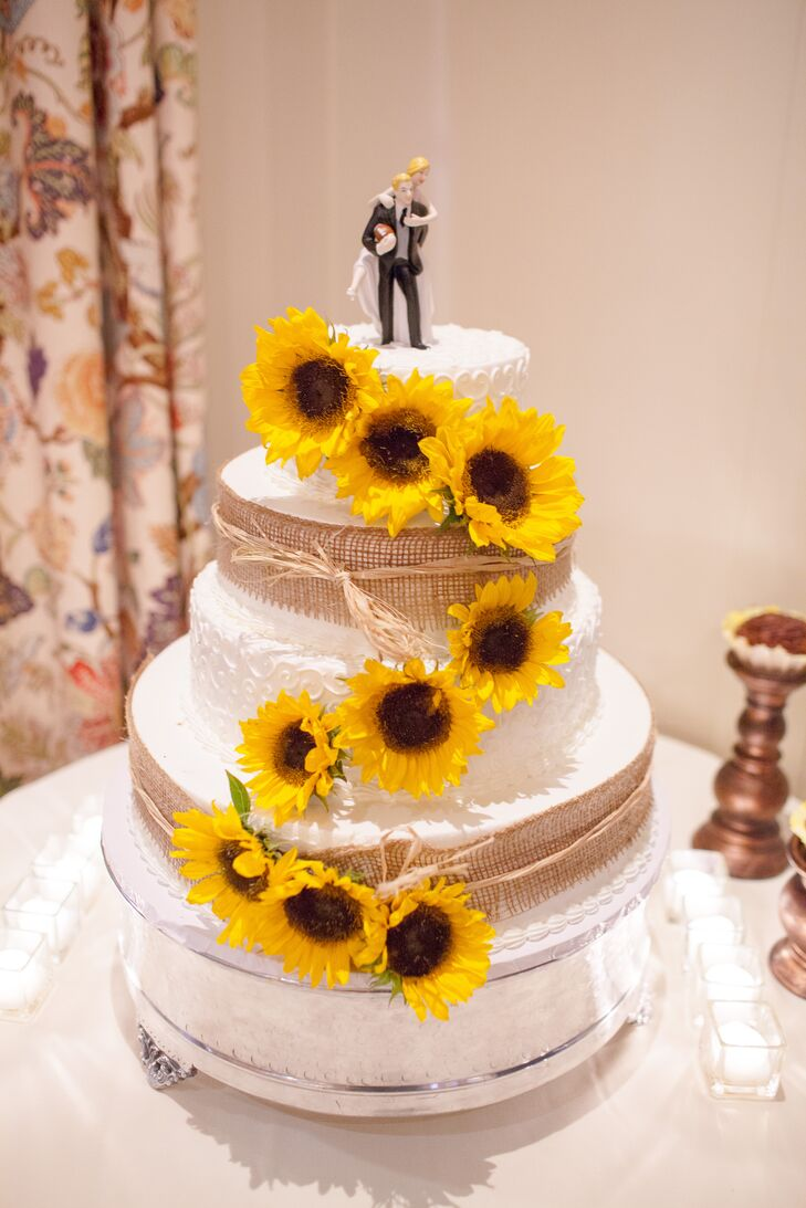 Sunflower Decorated Wedding Cake