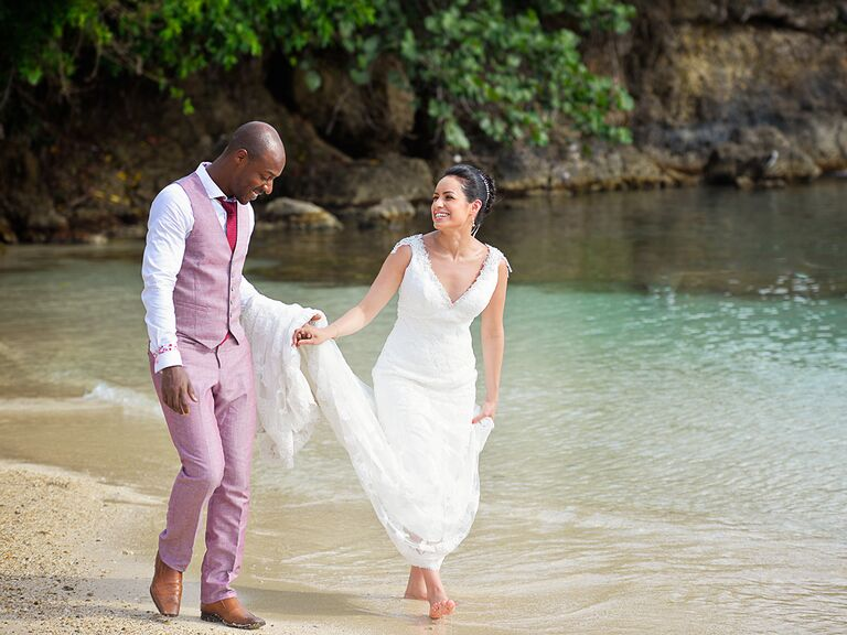 Bride And Groom At A Beach Wedding