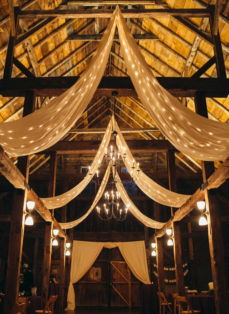 Draped barn reception area