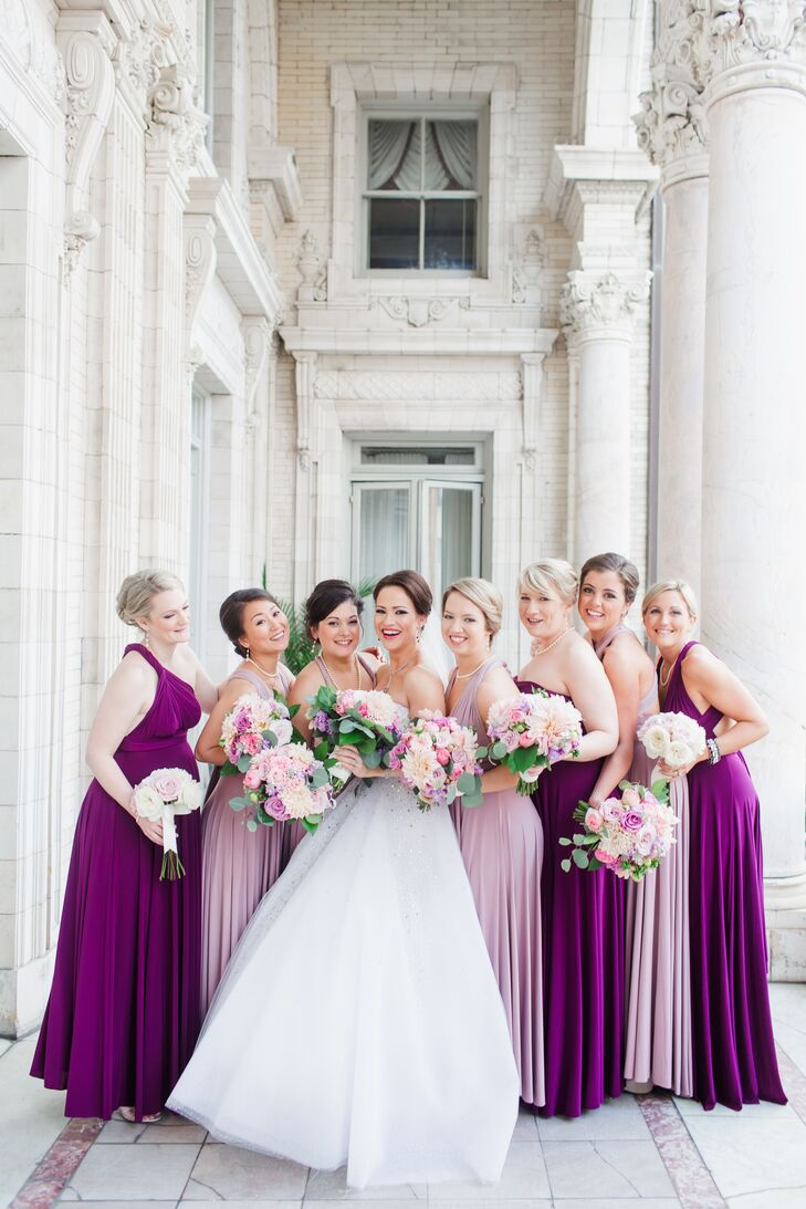 Two birds purple floor length bridesmaid dresses ombrellifo Image collections