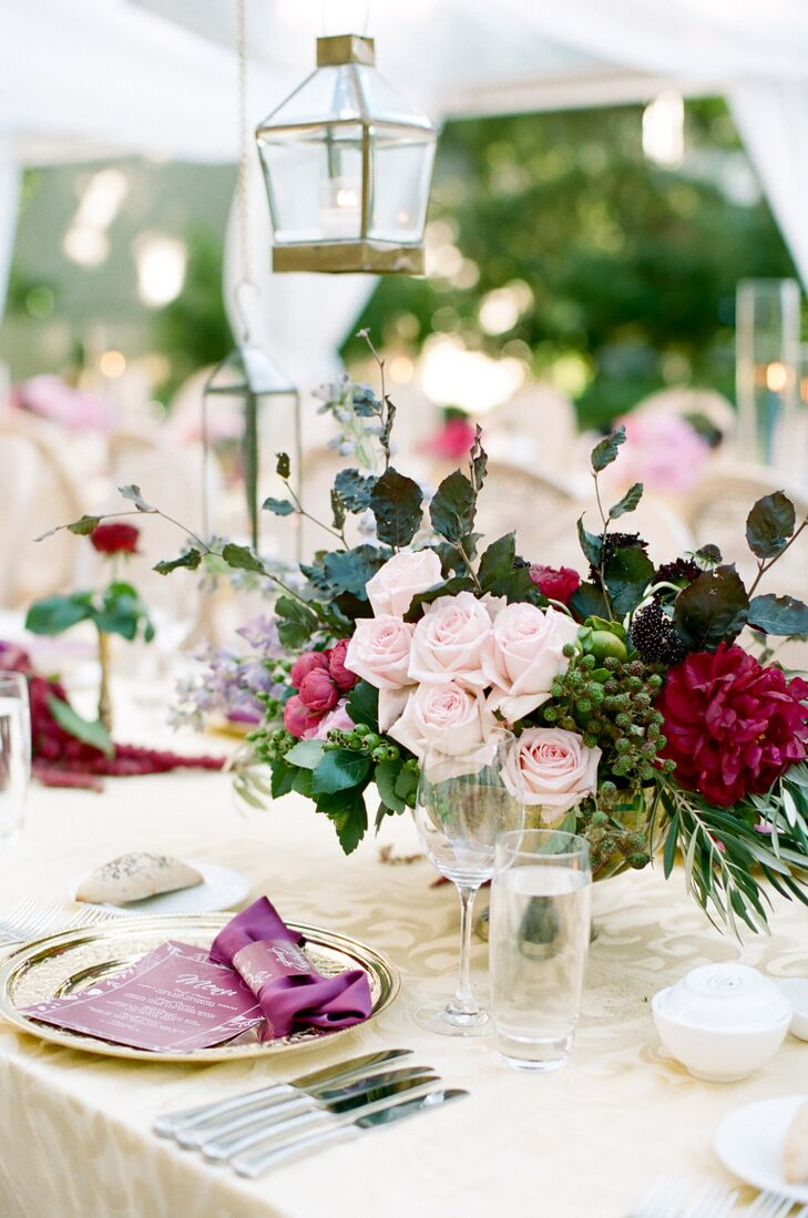 Blush rose and burgundy dahlia centerpieces