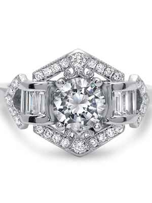 Timess Designs art deco engagement ring