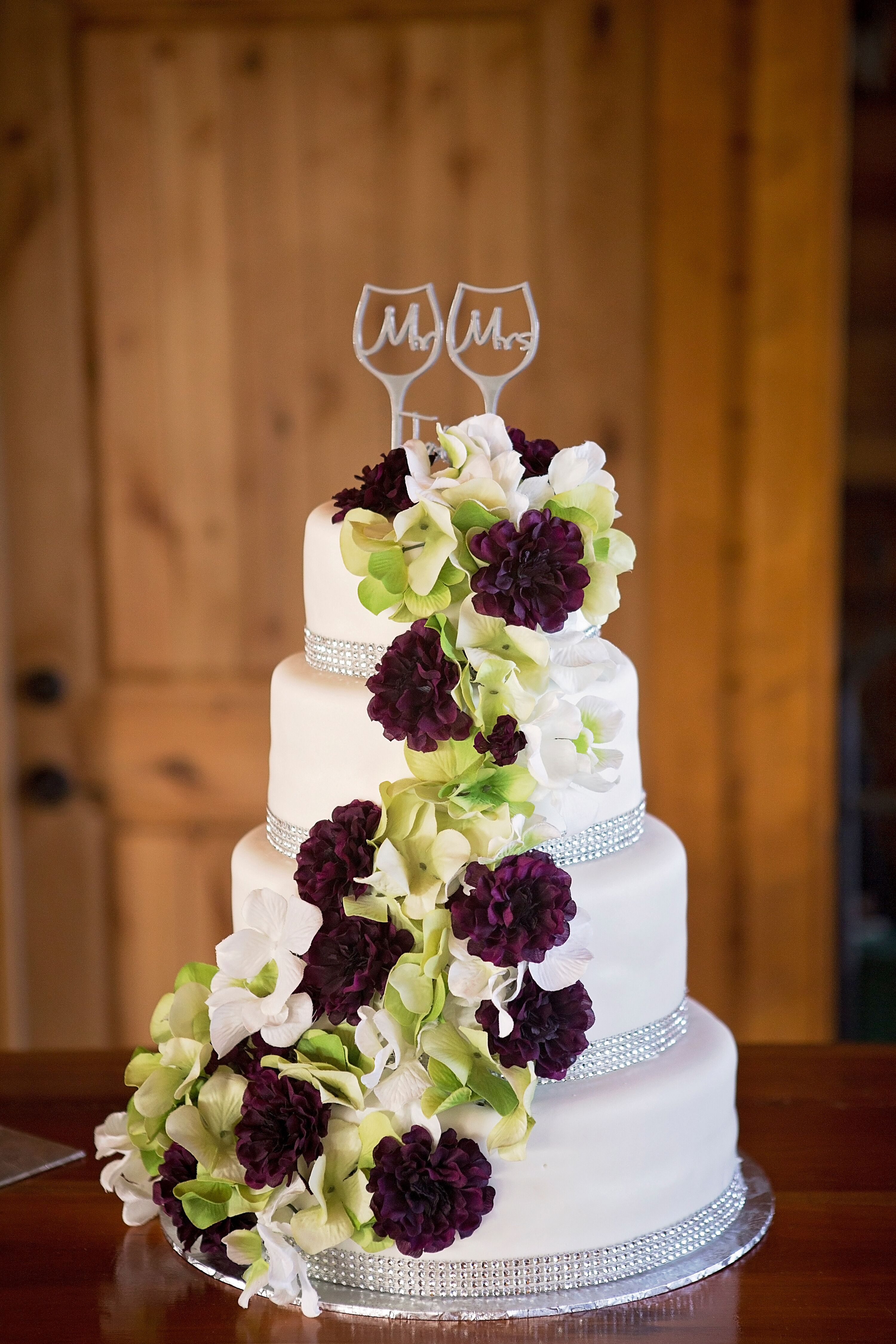 Cascading Purple And Green Fresh Flower Cake