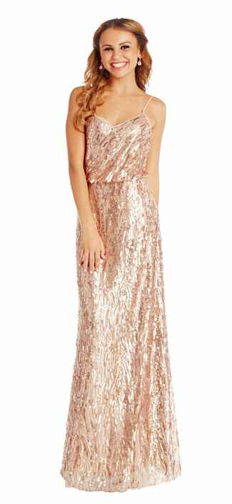gold bridesmaid dress by Donna Morgan