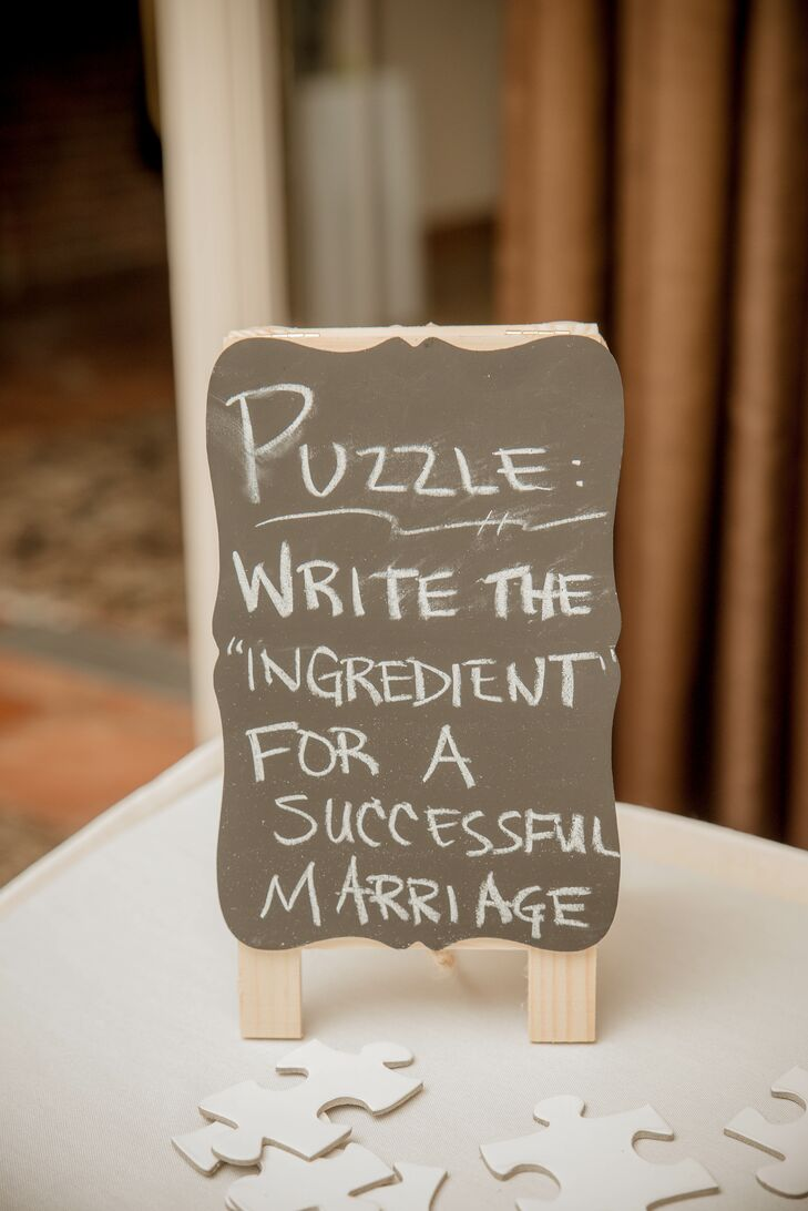 Black and White Chalkboard Puzzle Sign