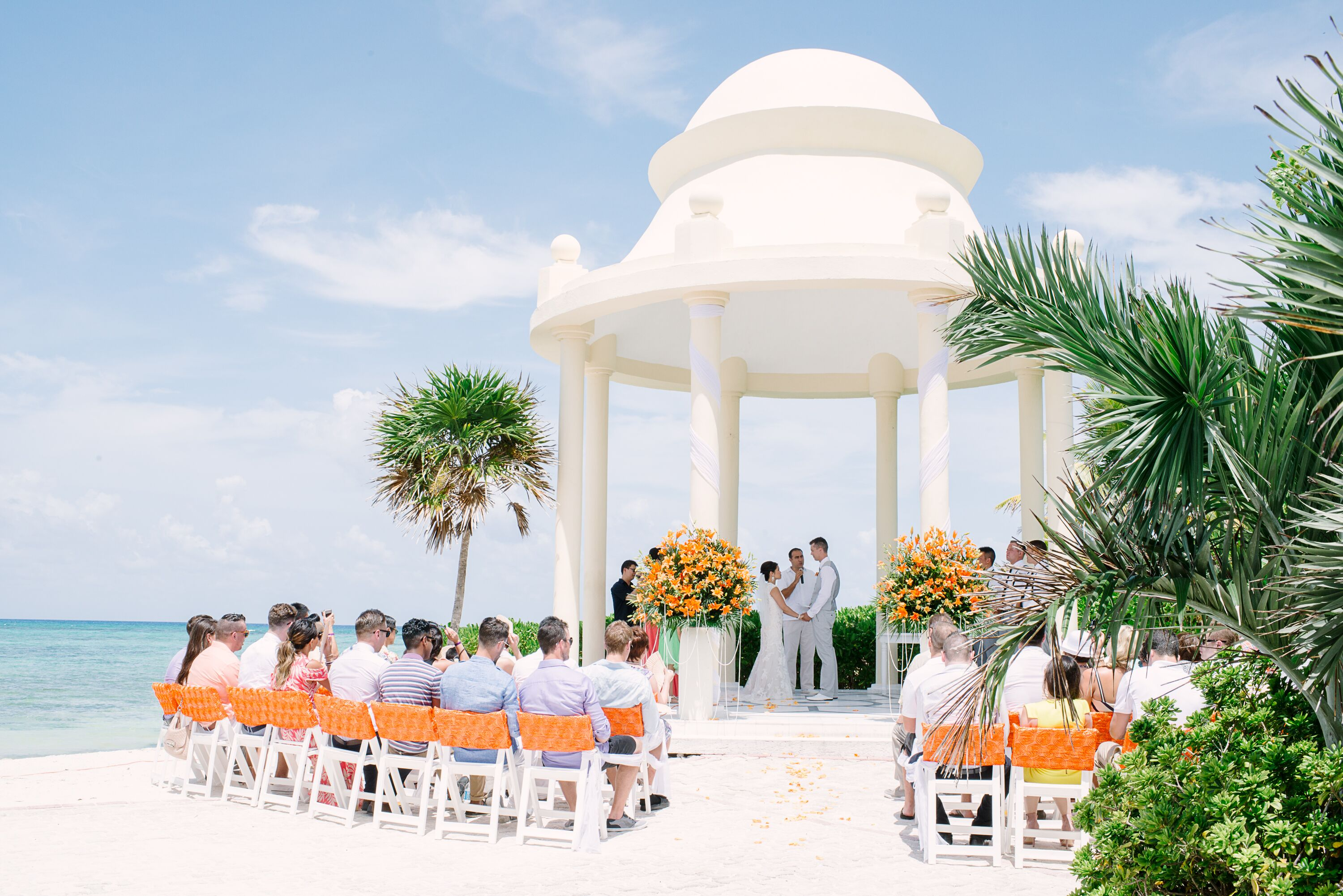 a beach destination wedding at grand palladium resort spa in riviera maya mexico