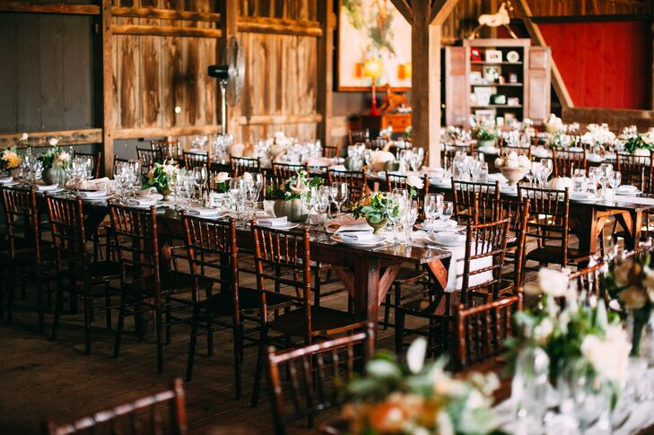 Classy Barn Reception With Farmhouse Tables And Chiavari Chairs