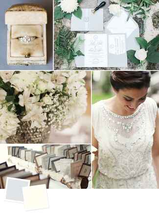 A neutral wedding color palette of dove grey and ecru