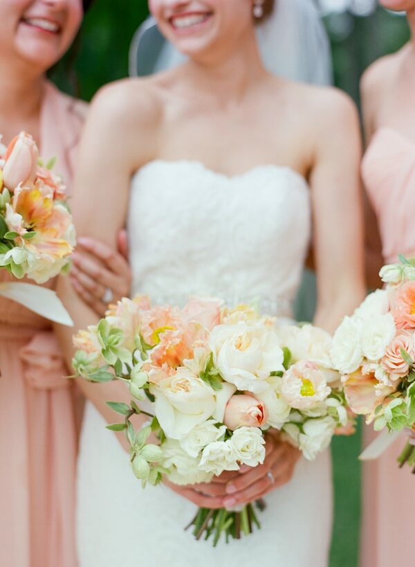 Romantic Peach Garden Rose and Tulip Bouquets